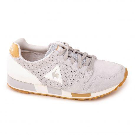 Baskets cuir gris clair Omega Premium Homme LE COQ SPORTIF marque pas cher prix dégriffés destockage