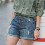 Short en jean destroy taille haute femme BEST MOUNTAIN