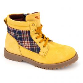 Boots montantes en cuir moutarde Femme GUESS
