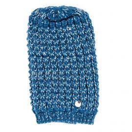Bonnet bleu en maille tricotée Femme GUESS marque pas cher prix dégriffés destockage
