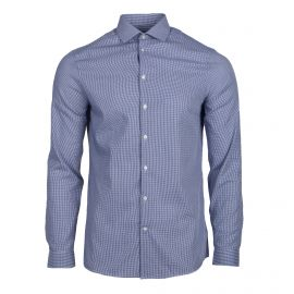Chemise cintrée bleu à carreaux manches longues Homme CALVIN KLEIN marque pas cher prix dégriffés destockage