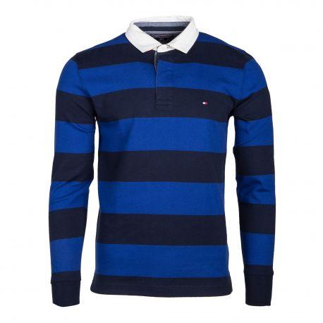 Polo bleu à rayures manches longues Homme TOMMY HILFIGER marque pas cher prix dégriffés destockage