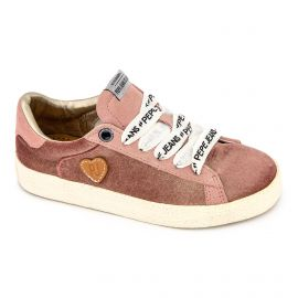 Baskets basses en velours rose Enfant PEPE JEANS