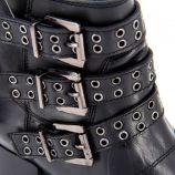 Bottines en cuir noires à boucles Femme PEPE JEANS marque pas cher prix dégriffés destockage