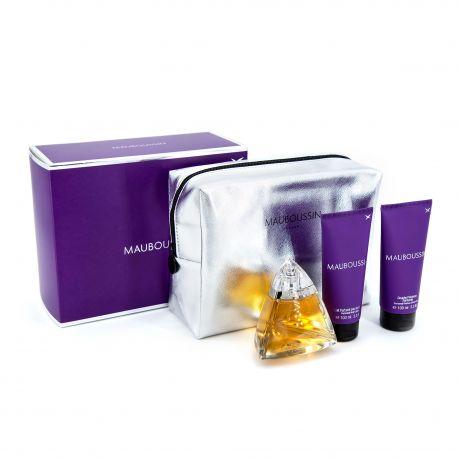 Coffret Prestige 3 Pièces Eau de parfum 100ML + Gel douche + Lait parfumé Femme MAUBOUSSIN marque pas cher prix dégriffés des...