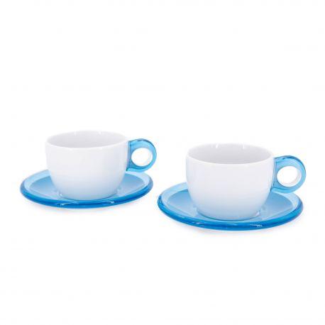 Set 2 tasses + sous tasses GUZZINI marque pas cher prix dégriffés destockage