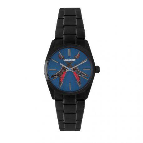 Montre ZVT 104 bleu bracelet maille noir Mixte ZADIG & VOLTAIRE marque pas cher prix dégriffés destockage