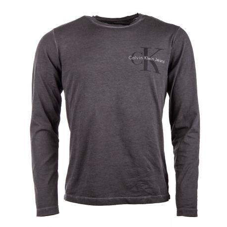 Tee shirt manches longues col ronf floqué CK jeans Homme CALVIN KLEIN marque pas cher prix dégriffés destockage