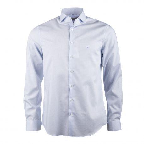 Chemise manches longues coton stretch à carreaux CK brodé Homme CALVIN KLEIN marque pas cher prix dégriffés destockage