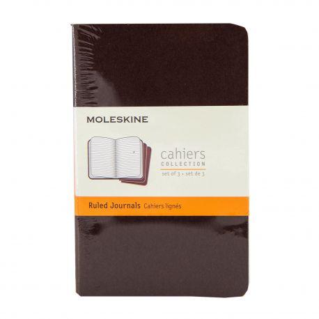 Lot de 3 cahiers lignés petit modèle 9x14 cm MOLESKINE marque pas cher prix dégriffés destockage