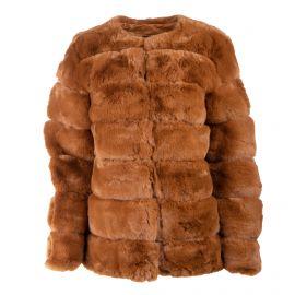 Manteau court sans col camel bouton 19203 Femme EMERAUDE marque pas cher prix dégriffés destockage