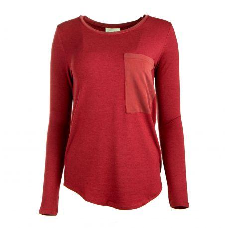 Tee shirt manches longues effet poche plaquée Femme AMERICAN VINTAGE marque pas cher prix dégriffés destockage