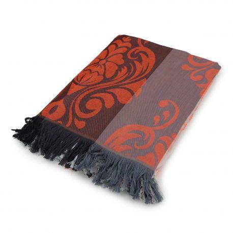 Fouta marron motif fleurs 2x3m SUN&SURY marque pas cher prix dégriffés destockage