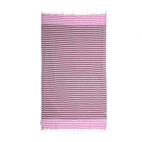 Fouta rayée rose 1x2m SUN&SURY marque pas cher prix dégriffés destockage