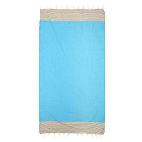 Fouta rayée bleue 1x2m SUN&SURY marque pas cher prix dégriffés destockage
