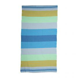 Fouta rayée bleue/vert 1x2m doublée éponge SUN&SURY marque pas cher prix dégriffés destockage