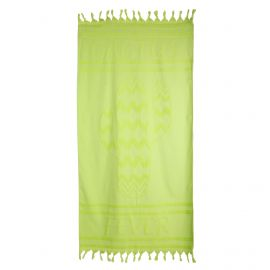 Fouta verte motif cactus 90x160cm doublée éponge 420mg COMPTOIR DE LA PLAGE marque pas cher prix dégriffés destockage