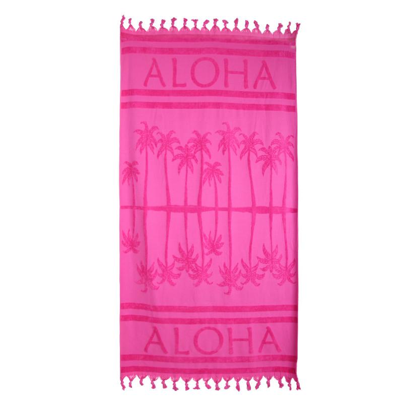 Fouta motif palmier 90x160cm doublée éponge COMPTOIR DE LA PLAGE marque pas cher prix dégriffés destockage