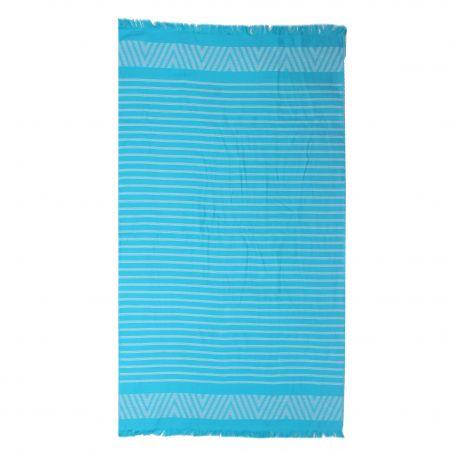 Fouta bleue rayée 90x160cm doublée éponge 380mg COMPTOIR DE LA PLAGE marque pas cher prix dégriffés destockage