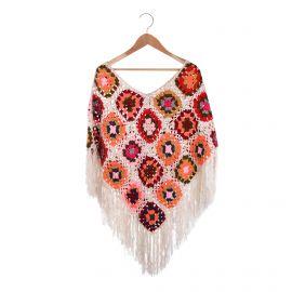 Poncho crochet multicolore franges Femme CARE OF YOU marque pas cher prix dégriffés destockage