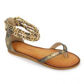 Sandales chaînettes cheville effet vieilli grifia Femme LES TROPEZIENNES PAR M.BELARBI marque pas cher prix dégriffés destockage