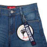 Bermuda jeans logo poche brodé Enfant AEROPILOTE marque pas cher prix dégriffés destockage