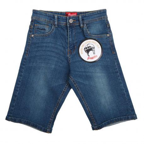 Bermuda jeans écusson logo dos brodé Enfant AEROPILOTE marque pas cher prix dégriffés destockage