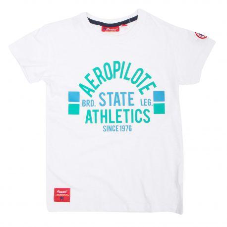 Tee-shirt manches courtes floqué écusson Aeropilote athletics Enfant AEROPILOTE marque pas cher prix dégriffés destockage
