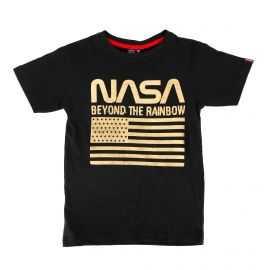 Tee shirt bicolore manches courtes drapeau floqué Enfant BEYOND THE RAINBOW marque pas cher prix dégriffés destockage