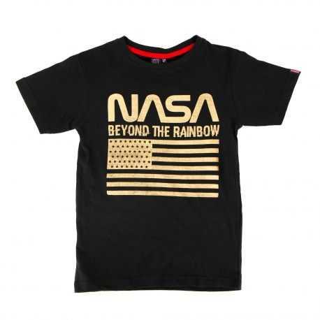 Tee shirt bicolore manches courtes drapeau floqué Enfant NASA marque pas cher prix dégriffés destockage