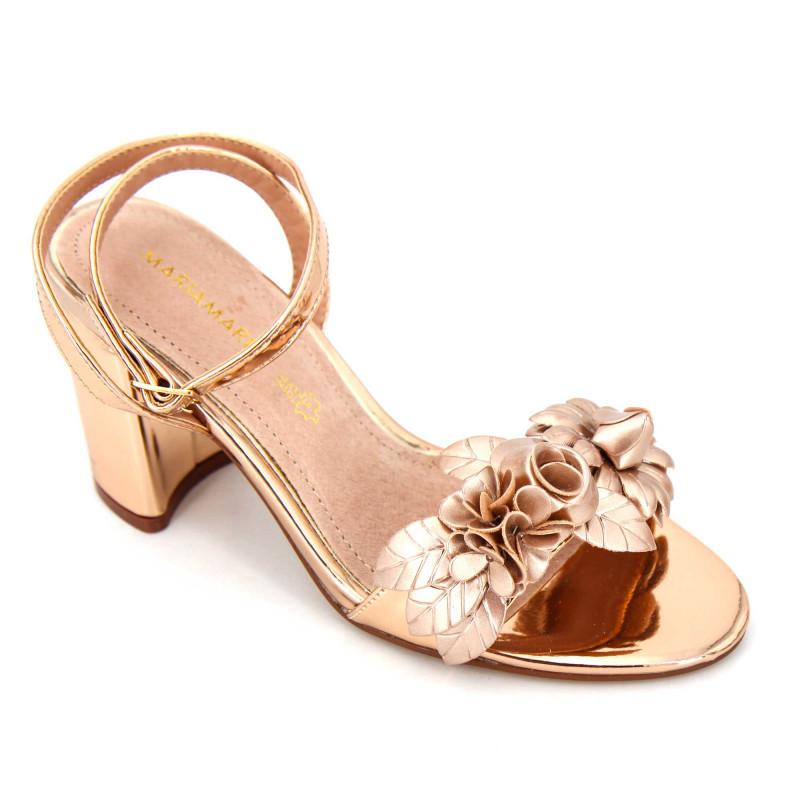 Sandales à talons brides métallisées fleurs Femme MARIAMARE marque pas cher prix dégriffés destockage