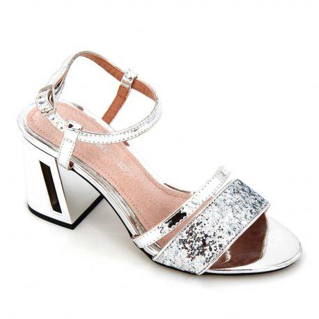 Sandales à talons brides métallisé paillettes Femme MARIAMARE marque pas cher prix dégriffés destockage