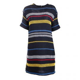 Robe manches courtes maille ajourée rayure multicolore Femme TOMMY HILFIGER marque pas cher prix dégriffés destockage
