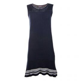 Robe sans manche maille ajourée rayure placée Femme TOMMY HILFIGER marque pas cher prix dégriffés destockage