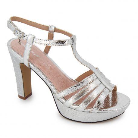 Sandales à talon compensées métallisé Femme MARIAMARE marque pas cher prix dégriffés destockage
