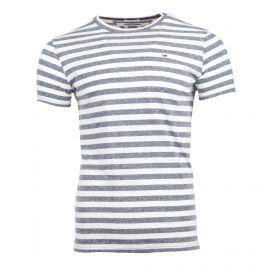 Tee shirt manches courtes marinière rayée bicolore Homme TOMMY HILFIGER marque pas cher prix dégriffés destockage