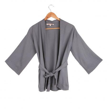 Veste kimono ceinturée manches longues légère Femme LA FEE MARABOUTEE marque pas cher prix dégriffés destockage