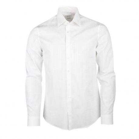 Chemise manches longues slim coton stretch carreaux ton sur ton Homme CALVIN KLEIN marque pas cher prix dégriffés destockage