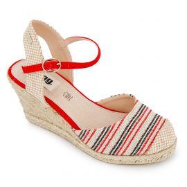 Sandales compensées rayées toile légère semelle corde boucle Femme MUSTANG marque pas cher prix dégriffés destockage