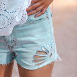Short jean coton doux bord franc ajouré fleurs Femme TOMMY HILFIGER