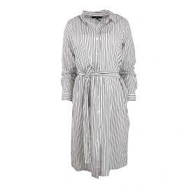 Robe chemisier manches courtes coton doux bio légère boutonnée ceinturée rayée Femme VERO MODA marque pas cher prix dégriffés...