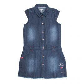 Robe sans manche jeans coton doux coeur brodé franges boutonnée Enfant LEE COOPER marque pas cher prix dégriffés destockage