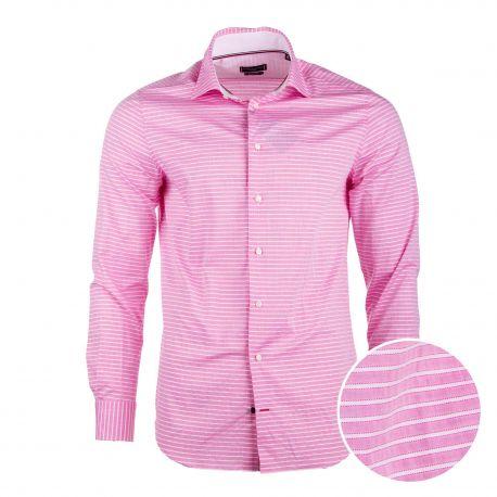 Chemise manches longues coton doux BCI rayé coupe droite tag brodé Homme TOMMY HILFIGER marque pas cher prix dégriffés destoc...