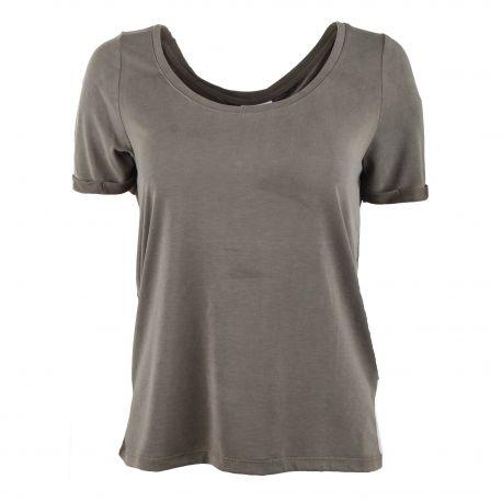 Tee shirt uni manches courtes Femme VILA marque pas cher prix dégriffés destockage