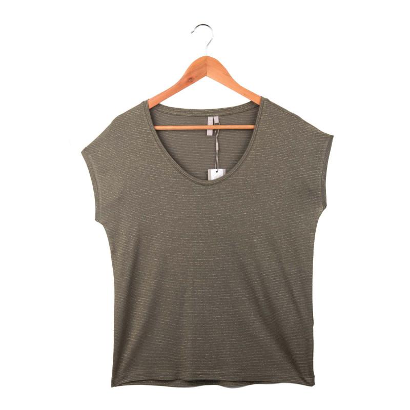 Tee shirt col V fines rayures lurex Femme PIECES marque pas cher prix dégriffés destockage