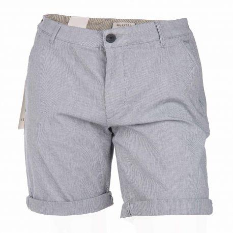 Short coton stretch droit poche arrière passepoilée boutonnée zip Homme SELECTED marque pas cher prix dégriffés destockage