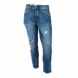 Jean coton doux organique strech relaxed cropped Homme SELECTED marque pas cher prix dégriffés destockage