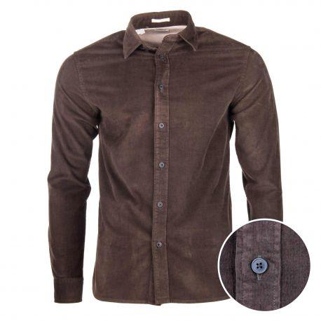 Chemise manches longues en velours côtelé regular fit coton Homme SELECTED marque pas cher prix dégriffés destockage