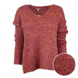 Pull manches longues grosse maille chiné col V Femme BEST MOUNTAIN