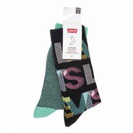 Lot de 2 paires de chaussettes mixed color t39 a 46 Homme LEVI'S marque pas cher prix dégriffés destockage